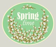 Card for spring season with frame and pussy-willow. Vector. Spring time willow twigs bunch for spring holiday greeting card. Vector. Spring Time design Royalty Free Stock Photos
