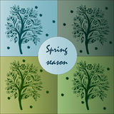 Card spring season with patterned tree Stock Image