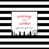 Card with square place for text  with stripes and London city sk. Black and white card with square place for text  with stripes and London city sk Royalty Free Stock Image