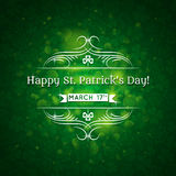 Card for St. Patrick Day with text and many shamro Royalty Free Stock Photos