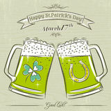Card for St. Patrick's Day with beer mug Stock Photos