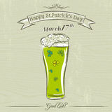 Card for St. Patrick's Day with green beer mug with clovers Stock Photos