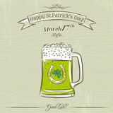 Card for St. Patrick's Day with green beer mug Stock Photography