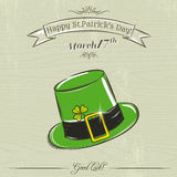 Card for St. Patrick's Day with green hat Royalty Free Stock Images
