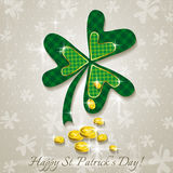 Card for St. Patricks Day with clover and golden c Royalty Free Stock Images