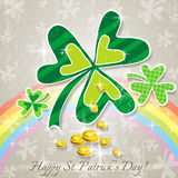 Card for St. Patricks Day with clovers Royalty Free Stock Photos