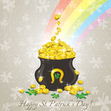 Card for St. Patricks Day, pot with golden coins Royalty Free Stock Photo