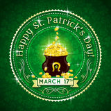 Card for St. Patricks Day with text and pot with g Stock Photo