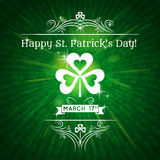 Card for St. Patricks Day with text and shamrock,  Royalty Free Stock Photo