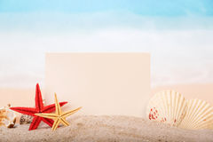 Card, starfishes and shells Stock Photography