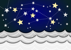 A card with stars and sea waves Stock Photo