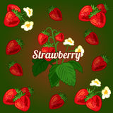 Card with strawberries on a green background Stock Photo