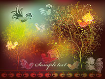 Card with stylized ornamental tree with birds. And apples on dark colorful background Stock Photos