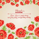 Card with stylized poppy flowers. Royalty Free Stock Photo