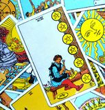 The Eight VIII of Pentacles Tarot Card. This card is about Success, Commitment, Financial Security, Craftsmanship. He is a Master, Expertise, Specialist and royalty free stock photography