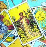 Nine IX of Pentacles Tarot Card. This card is about Success, Profits, Prosperity, Wealth, Financial Stability and Financial Strength royalty free stock photos