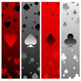 Card suit banners. Four banners with heart spade diamond and club elements Stock Photos