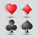 Card suit symbols. Four card suit symbols in a glossy style Royalty Free Stock Photos