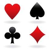 Card suits. Diamond, heart, spade and club Stock Photos