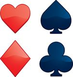 Card Suits. Hearts, Diamonds, Clubs and Spades shapes Royalty Free Stock Photography
