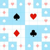 Card Suits Blue Red White Chess Board Background Vector Illustration. Card Suits Blue Red White Chess Board Background Vector Illustration Royalty Free Stock Images