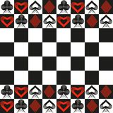 Card Suits and Chess Board Background Royalty Free Stock Photography