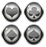 Card suits. Four playing card symbols on white background Stock Image