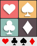 Card suits: Hearts, Spades, Clubs, Diamonds. Set of vector symbols of playing cards. Icons for casino, gambling or poker Stock Photography