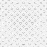 Card suits line pattern. Vector simple gambling seamless texture made with card suit icons in thin line style royalty free illustration