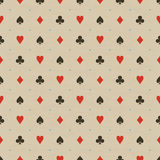 Card Suits Pattern in beige Stock Photos