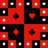 Card Suits Red Black White Chess Board Background Vector Illustration.  Stock Images