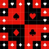 Card Suits Red Black White Chess Board Background Vector Illustration.  Royalty Free Stock Photos