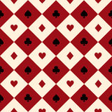 Card Suits Red Burgundy Cream Beige Black White Chess Board Diamond Background Royalty Free Stock Images