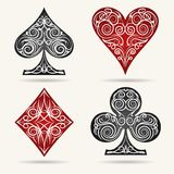 Card Suits Set. Ornamental Playing Card Suits Set. Vector illustration vector illustration