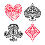 Card Suits Set. Playing card suits hand drawn set with decorative ornament vector illustration stock illustration