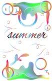 Card summer. Colorful rainbow frame Stock Photos
