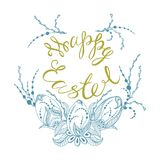 Happy easter. Card with summer happy easter, easter eggs in zen style graphics, vector illustration Royalty Free Stock Photography