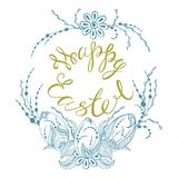 Happy easter. Card with summer happy easter, easter eggs in zen style graphics, vector illustration Royalty Free Stock Images