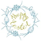 Happy easter. Card with summer happy easter, easter eggs in zen style graphics, vector illustration Stock Photos