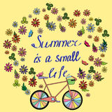 Card on a summer theme with the bike Stock Image