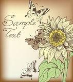 Card with sunflower and butterflies Royalty Free Stock Photo