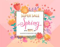Card for super sale in spring with lettering. Card for super sale in spring with handdrawn lettering in square frame on geometric background pastel colors with royalty free illustration
