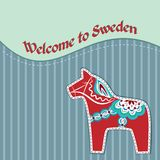Card with swedish wooden horse Stock Images