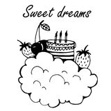Card sweet dreams with the cloud, cake and berries Doodle Vector Illustration Stock Photography