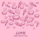 Card with sweet-stuff  on the Day of St. Valentine. Card with sweet-stuff and congratulations on the Day of St. Valentine Stock Photo