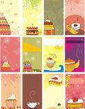 Card sweets. Set of  cards with sweets Royalty Free Stock Photo