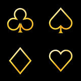 Card symbols gold. Gold playcard icons on white background Royalty Free Stock Photo