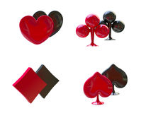 Card Symbols Red and Black, Four Aces. 3D Card symbols red and black, four aces Stock Image