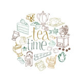 Card with Tea and Coffee Doodles Royalty Free Stock Photos