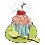 Card with tea and cupcakes. Stock Images